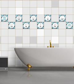 Woedoe badkamer sticker blauw