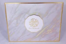 Geschenk/gebaksdoos medium goud marmer