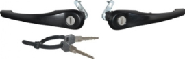 DOOR HANDLE SET WITH LOCK CYLINDER AND KEYS, BLACK, LEFT/RIGHT