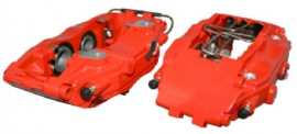 BRAKE CALIPER SET, LEFT/RIGHT, FRONT, SPORT, RED, POWDER COATING, NEW, WITHOUT E-MARK, ADAPTER NEEDED FOR MOUNTING ON 964 C2/C4 AND 993 C2/C4