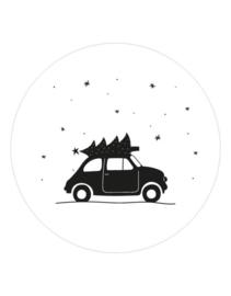 Muurcirkel | Auto en kerstboom 20cm