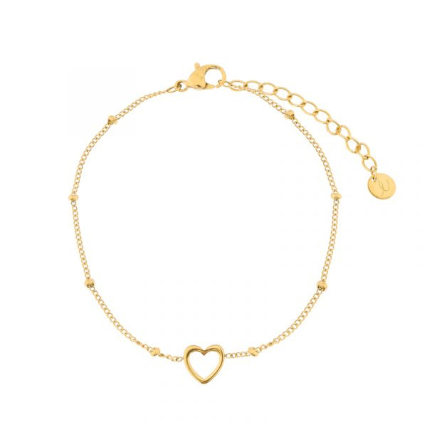 Armband open hart   goud