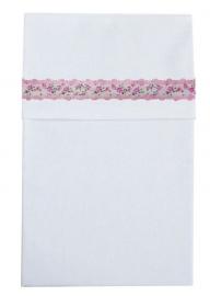 Cottonbaby wieglaken wit met roosjes rand