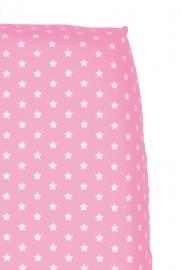 Cottonbaby hoeslaken roze met witte sterretjes