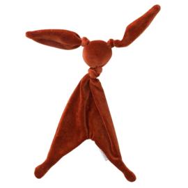 Cottonbaby velours knuffelkonijn roest