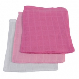 Jollein hydrofiel washandjes 3 stuks verpakt fuchsia/roze/wit
