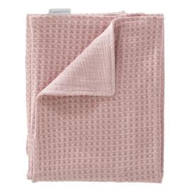 Cottonbaby gebreide wafel wiegdeken oud roze