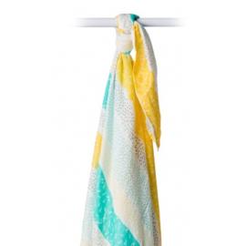 Lulujo swaddle geel en aqua strepen en stippen