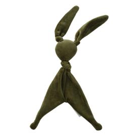 Cottonbaby velours knuffelkonijn kaki groen
