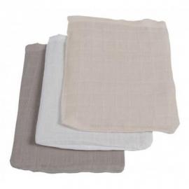 Jollein hydrofiel washandjes 3 stuks verpakt antraciet grijs/grijs/wit