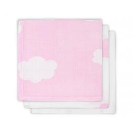 Jollein hydrofiel washandjes 3 stuks verpakt wolken roze