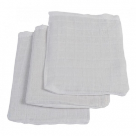 Jollein hydrofiel washandjes 3 stuks verpakt wit