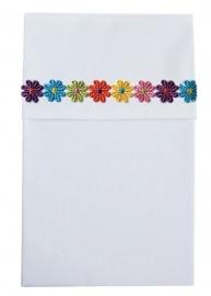 Cottonbaby wieglaken wit bloemrand multicolor
