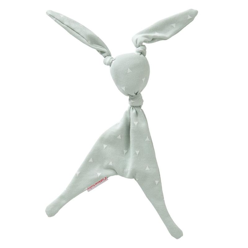Cottonbaby knuffelkonijn mint driehoekjes