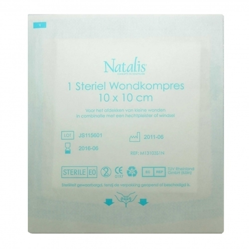 Natalis wondkompres 10x10 cm 5 stuks