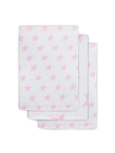 Jollein hydrofiel washandjes 3 stuks verpakt Little star pink