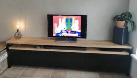 Eiken/mat zwart Tv meubel Milaan