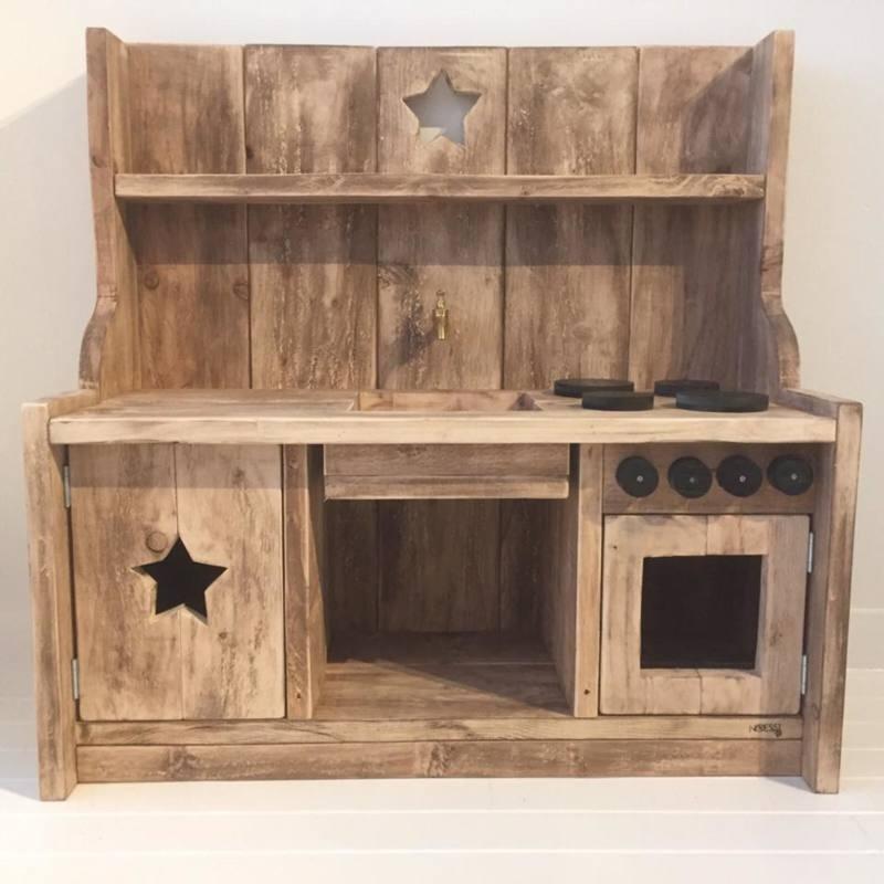 Kinderkeukentje steigerhout (gerookt)