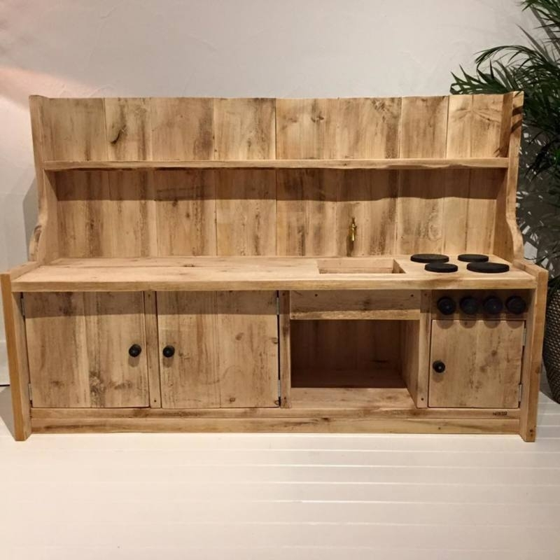 Kinderkeuken steigerhout 150 cm met Krijtbord
