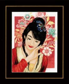 Aziatische bloemenmeisje