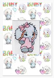 Postcard baby elephant pink