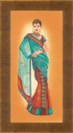 Indianse dame in blauwe sari