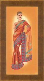 Indianse dame in oranje sari