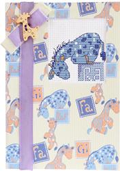 Postcard giraffe baby blue