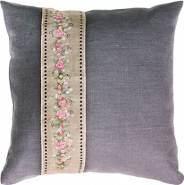 cushion Rose banner grey