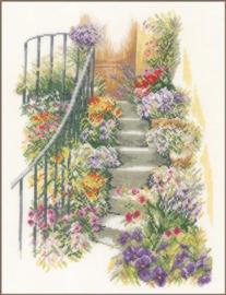 Trap met bloemen