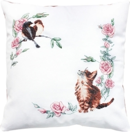cushion cat & bird