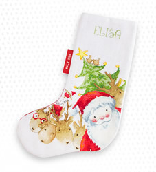 Christmas stocking santa and reindeer