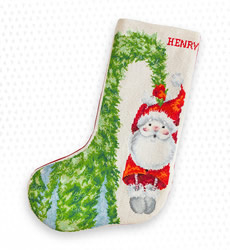Christmas stocking santa hanging on the tree