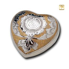 Hart urn zilverkleurig - goudbruin bewerkt