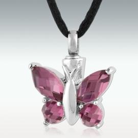 Vlinder met paars/roze glas