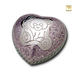 Hart urn zilverkleurig - paars bewerkt