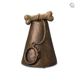 Keramische urn halsband en riem in bronzen afwerking