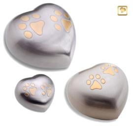 Hart urn zilverkleurig met pootafdrukjes