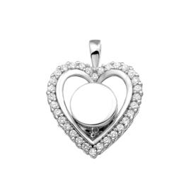 Zilveren hanger, hart gezet met zirkonia. 124 SVD Zilver