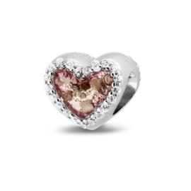 803 S  Zilveren hart bedel met zirkonia.