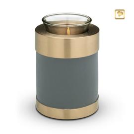 Waxinelichthouder-mini urn, blauwgrijs met goudkleurige messing band