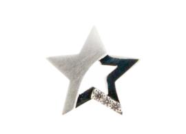 Zilveren ster hanger, mat/glans, gezet met zirkonia's. RL 002 Zilver