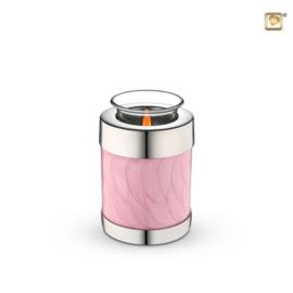 Waxinelichthouder-mini urn, Roze-gemarmerd