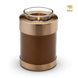 Waxinelichthouder-mini urn, bruin met goudkleurige messing band.