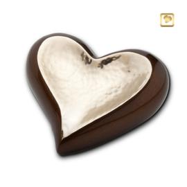 Hart urn sierlijk goudkleurig met goud-bruine rand