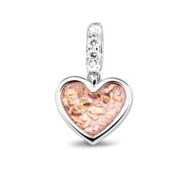 807 S  Zilveren hart bedel met zirkonia.