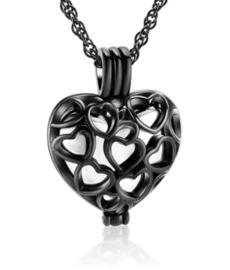 Zwart/Zilverkleurige hartjes hanger