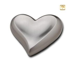 Hart urn sierlijk zilverkleurig mat