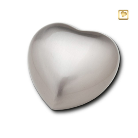 Hart urn zilverkleurig mat