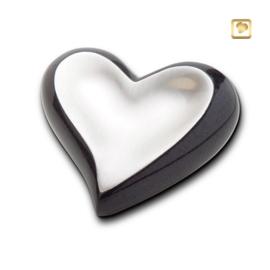 Hart urn sierlijk zilverkleurig met antraciet grijze rand
